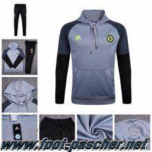 new products 233d7 20bb1 Magasin Sweat Capuche Survetement Adidas Homme Pas Cher Thailande FC  Chelsea Gris Noir 2016