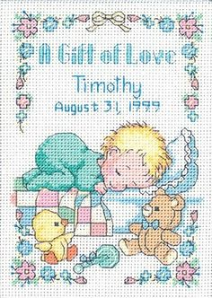 Dimensions A Gift of Love Baby Birth Record Counted Cross Stitch Kit # 16657