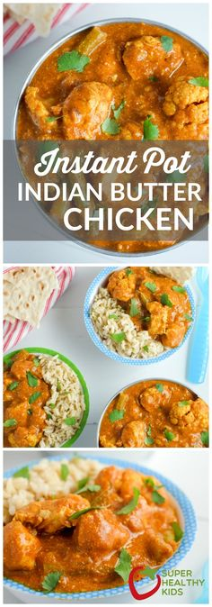 Easy butter chicken in the Instant Pot! This Instant Pot Indian butter chicken recipe takes just 10 minutes of prep and 10 minutes in the pressure cooker. Healthy Meals For Kids, Healthy Chicken Recipes, Paleo Recipes, Kids Meals, Healthy Indian Recipes, Chicken Recipes For Kids, Drink Recipes, Healthy Food, Indian Recipes For Kids