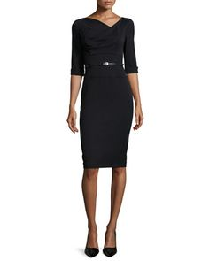 Jackie 3/4-Sleeve Sheath Dress by Black Halo at Neiman Marcus.