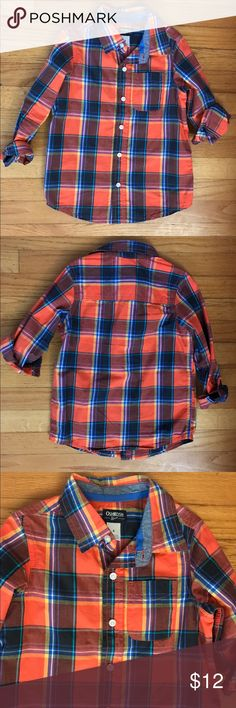 🍊Orange plaid button down boys size 6 Worn once to school for fall pictures,you may mistake it for brand new! Long sleeve but we rolled up the sleeves for a different look. Can be worn either way. It looks great on,gorgeous colors! We got so many compliments on it. Osh Kosh Shirts & Tops Button Down Shirts