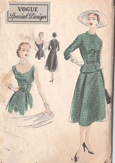 Stunning VTG Early 50s Vogue Special Design Dress~Jacket Pattern~Low Shaped Neck