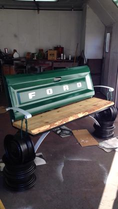 My biggest project so far, a tailgate bench for my local FFA fundraising dinner. Made from a 70's Ford tailgate, a few tire rims, leaf springs and pine 2x12's and the help of a few good buddies.