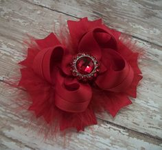 Solid Red Bow Fluffy Stacked Boutique Bow with by darlindivas. , via Etsy. Not this color though!