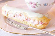 Raspberry & white chocolate eclairs