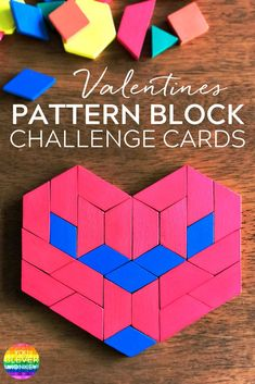 Free Valentines Days STEAM Pattern Block Challenge Cards - ready to print and use in your Early Years classroom Valentines Games, Valentine Crafts For Kids, Valentines Day Activities, Holiday Activities, Math Activities, Valentine Theme, Steam Activities, Saint Valentine, Math Games