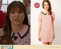 Tina's pink collared heart print dress on Glee.  Outfit details: http://wornontv.net/12072/