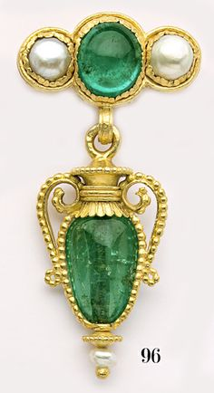 Art Nouveau Magnificent cabochon-cut and bead-cut emerald, natural pearl and carved gold Etruscan-revival amphora brooch. Wièse, Paris