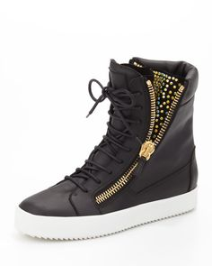 Giuseppe Zanotti Crystal-Zip High-Top Sneaker - Siyah - MosModa - Burberry, Michael Kors, Tory Burch