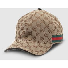 Gucci Original Gg Canvas Baseball Hat With Web ($245) ❤ liked on Polyvore featuring accessories, hats, baseball caps, canvas hat, adjustable baseball cap, gucci hat, adjustable hats and baseball cap