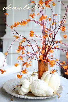 white pumpkin gourd fall foliage vine - Dear Lillie
