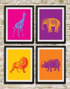 Safari Nursery Pop Art Prints - Elephant Giraffe Lion Rhinoceros African Animals