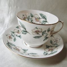 1940s English Bone China Tea Cup/Saucer,Floral Transfer,Gold Trim. Housewarming…
