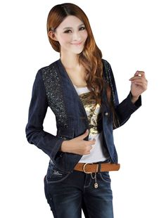 Slimming Blue Cotton Studded Women's Jacket