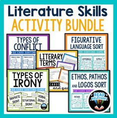 Literature Skills Bundle: Figurative Language, Conflict, Irony, and more! Situational Irony, Irony Examples, Types Of Conflict, Rhetorical Device, Teaching Critical Thinking, Literary Terms, English Teaching Materials, 8th Grade Ela, Figurative Language
