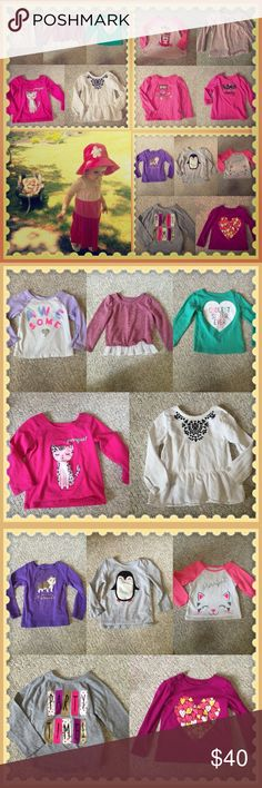 Tee Lot Huge lot of long sleeve Little girl Tee's. Excellent condition. All items are AS SHOWN in pics. Multiple brands, gap, CARTERS, crazy 8's, children's place and more. Great quality and price! Enjoy💁🏼👧🏼🛍 Multi Tops Tees - Long Sleeve
