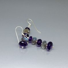 Dangle earrings with Amethyst and Labradorite and Sterling silver - Mother's day gift idea