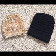 Set of 2 Beanies NWOT Set of 2 never worn beanies. One is a Bearpaw dark yellow cable knit beanie and the other is a black chunky stripped beanie. Both in new condition. Bearpaw Accessories Hats