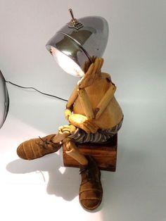 Stylish Diy Art Stickman Lamps Design Ideas With Unique Shape Luminaire Original, Creation Deco, Junk Art, Wooden Lamp, Cool Lighting, Kids Lighting, Lamp Design, Lamp Light, Sculptures