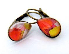 """Boucles d'oreilles dormeuses """"Goutte d'Eau"""" métal bronze et verre : Boucles d'oreille par francesca"""