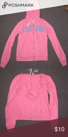 "FOREVER 21 ""California"" hoodie bright pink with blue letters saying ""california"" Forever 21 Jackets & Coats"