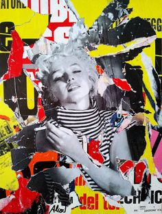 Umberto Alizzi Marilyn décollage, collage, pop art street art, urban art, Marilyn Monroe, vintage photos