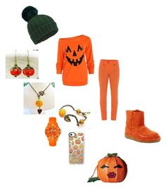 """Halloween: Jack-o-lantern"" by lilnekomagdie20 ❤ liked on Polyvore featuring Miss Selfridge, UGG, Ice-Watch, Casetify and Betsey Johnson"