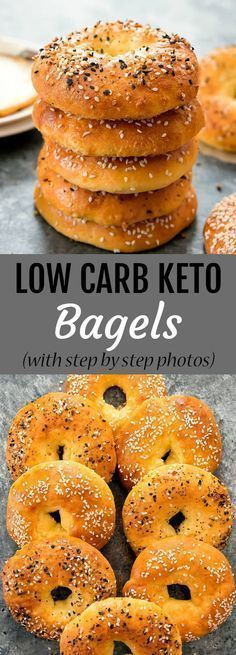 These bagels are just 5 ingredients and are wheat free, gl… Low Carb Keto Bagels. These bagels are just 5 ingredients and are wheat free, gluten free, low carb and keto. Step by step photos included in the post. Keto Bagels, Low Carb Bagels, Low Carb Bread, Keto Bread, Gluten Free Bagels, Low Carb Food, Bagels Nyc, Gluten Free Hamburger Buns, Low Carb Bun