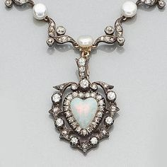 A late Victorian diamond, opal and pearl necklace,