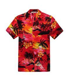 Men Hawaiian Aloha Shirt in Sunset Red