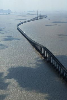 The 20.2 mile bridge stretches from Shanghai to Yangshan over the South China Sea. Visitors to China are not permitted to drive in China so they would have to take a taxi.