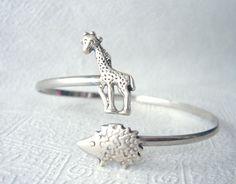 hedgehog wrap bracelet with a giraffe hedgehog bangle by stavri, $26.00