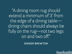 Measure your dining room rug. rug dining room designer quotes and tips Top Interior Designers, Interior Design Tips, Home Interior, Design Blogs, Color Interior, Design Basics, Interior Office, Interior Ideas, Interior Architecture