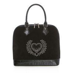 Attavanti - Arcadia Stella Heart Suede and Leather Large Bowling Grab Bag - Black, £225.00 (https://www.attavanti.com/luxury-italian-leather-designer-handbags/arcadia-stella-heart-suede-and-leather-large-bowling-grab-bag-black/)