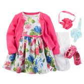 Everything you love about spring is in this cute little floral sateen dress. Flouncy petticoat for easy twirling. Check out carters.com for more girl Easter dresses.