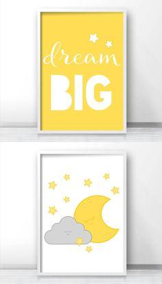 Nursery set of 2, Dream big nursery quote, Moon and stars nursery wall art, Gray and yellow nursery decor