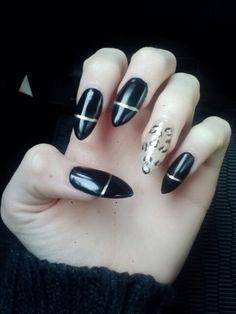 Long pointed nails. Cheetah! Acrylic and gel