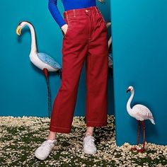 Elf Sack Autumn 2016 neutral new female casual pants straight denim jeans…