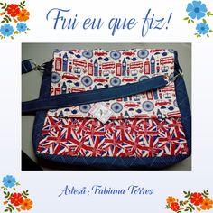Bolsa feita pela artesã Fabiana Torres com tecidos da coleção Londres!