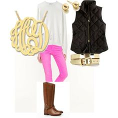 love the hot pink pants with vest and monogram necklace