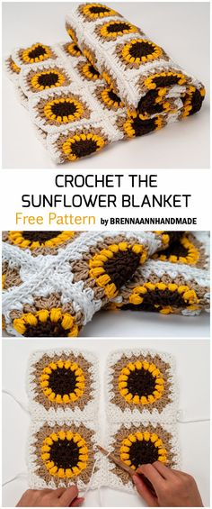 Crochet Sunflower Granny Square Baby Blanket - Free Pattern Crochet Sunflower G. Granny Square Pattern Free, Granny Square Häkelanleitung, Granny Square Projects, Free Pattern, Crochet Patterns For Beginners, Crochet Blanket Patterns, Baby Blanket Crochet, Crochet Baby, Free Crochet