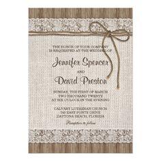 Rustic Wedding Invitations Burlap And Lace Wedding Invitation, Rustic Wedding Card
