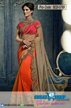 Be The Sunshine Of Anyone'S Eyes Dressed In This Enticing Beige & Deep Orange Net Saree. This Pretty Dress Is Showing Some Fantastic Embroidery Done With Lace, Patch Work, Resham, Stones Work. Paired With A Contrast Fuchsia Silk Blouse  Visit: http://surateshop.com/product-details.php?cid=2_26_66&pid=8098&mid=0