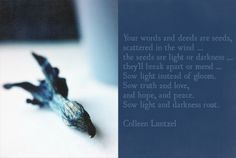 Your words and deeds are seeds, scattered in the wind... the seeds are light or darkness... they'll break apart or mend... Sow light instead of gloom. Sow faith instead of doubt. Sow truth and love, and hope, and peace. Sow light and darkness rout. Colleen Luntzel