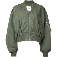 Clane classic bomber jacket (1.180 BRL) ❤ liked on Polyvore featuring outerwear, jackets, green, green jacket, flight jackets, blouson jacket, green flight jacket and green bomber jackets