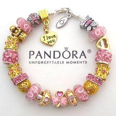Authentic Pandora Sterling Silver Bracelet with Charms Love Heart Gold Angel New #PandoraBracelet #European