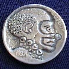 J. PRESS HOBO NICKEL - CLOWN* - 1937 BUFFALO NICKEL Hobo Nickel, Trench, Buffalo, Classic Style, Coins, Carving, Art, Art Background, Rooms