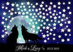Wedding Custom Watercolor Guestbook Wolves howl at the moon under the stars (125) on canvas. Available with a number of stars you want.