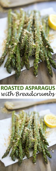 Roasted asparagus tossed with homemade garlic parmesan breadcrumbs. | chefsavvy.com #recipe #roasted #asparagus #side #vegetable
