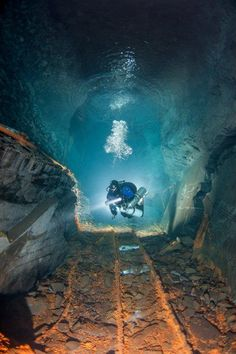 Scuba-diving in a flooded mine in Germany